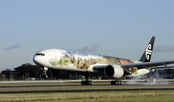 Air New Zealand 777-300 Hobbit inspired flight lands at London Heathrow Airport for the first time. picture David Dysonff