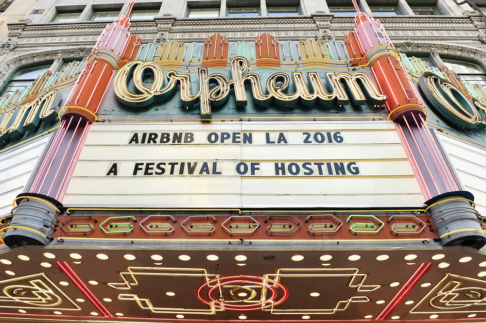 "LOS ANGELES, CA - NOVEMBER 17:  View of the marquee during the ""Introducing Trips"" Reveal at Airbnb Open LA on November 17, 2016 in Los Angeles, California.  (Photo by Mike Windle/Getty Images for Airbnb)"